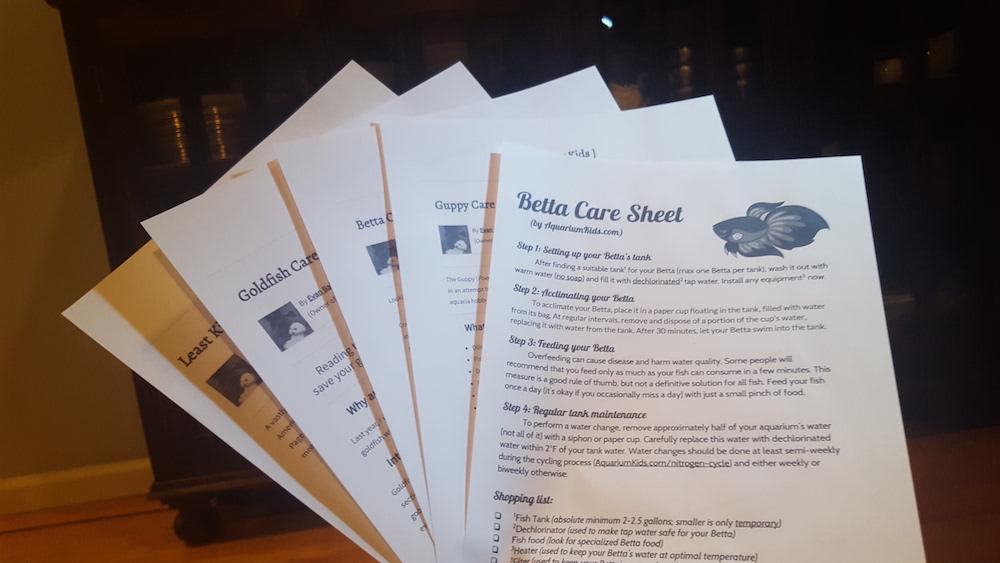 Printed care sheets